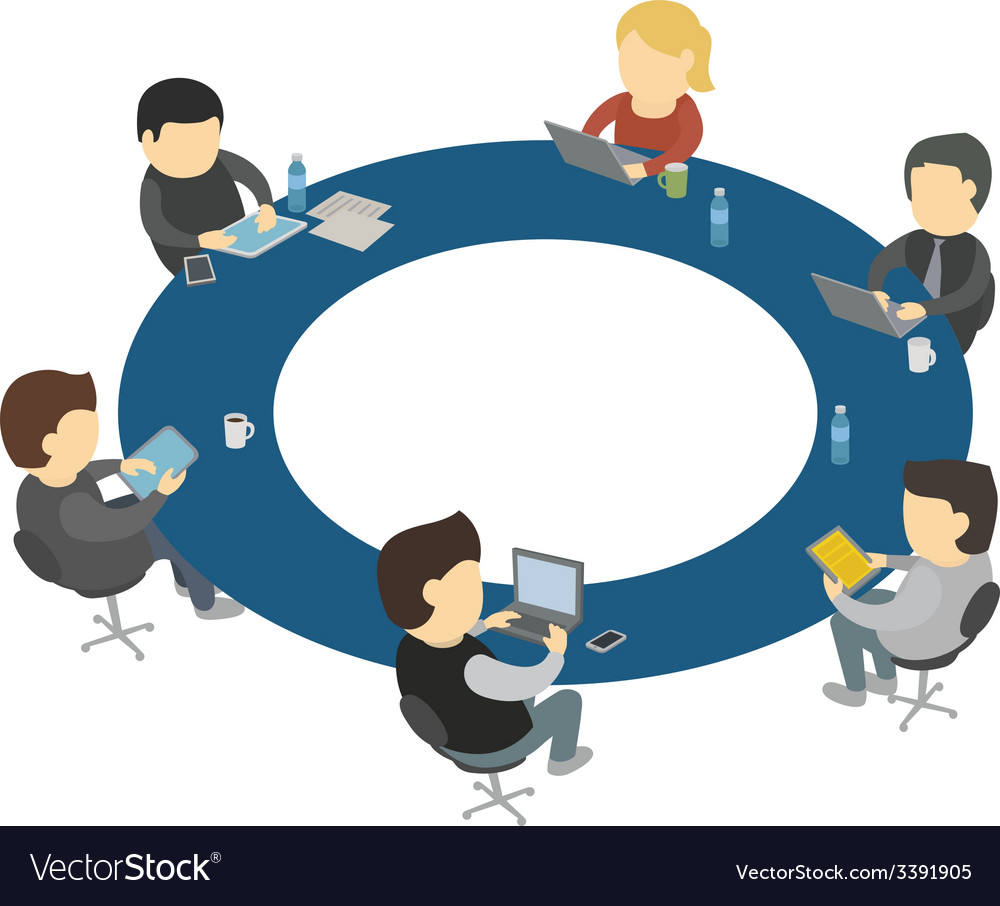 Six cartoon people work sitting round table vector | Price: 1 Credit (USD $1)