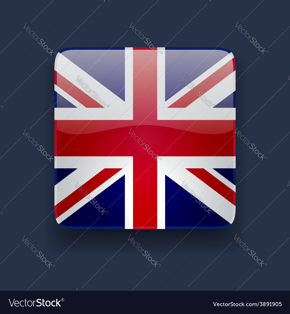 Square icon with flag of the uk vector | Price: 1 Credit (USD $1)