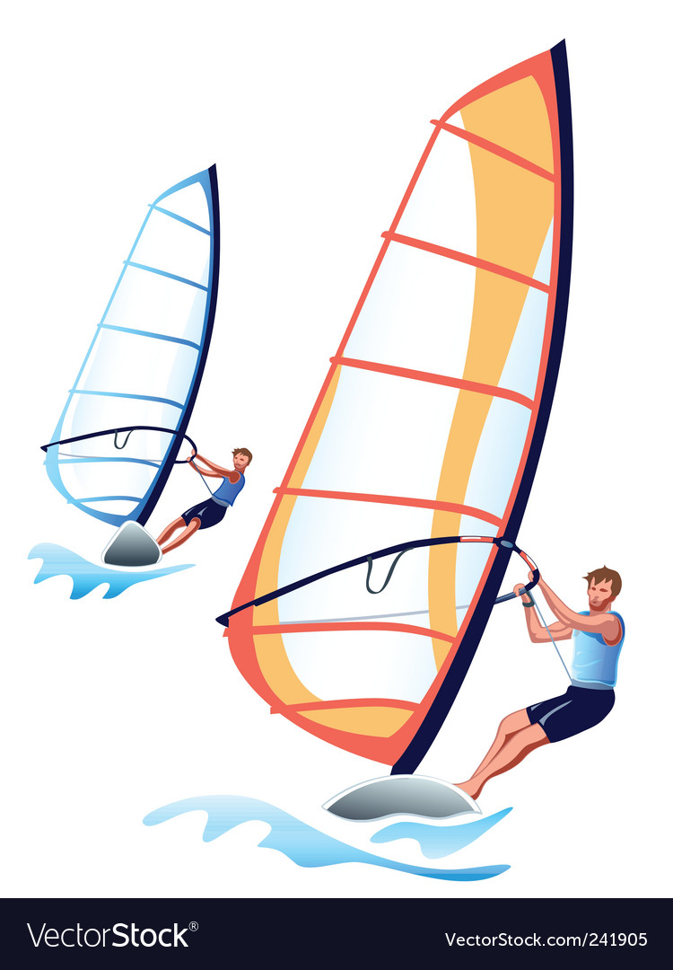 Windsurfers vector | Price: 1 Credit (USD $1)