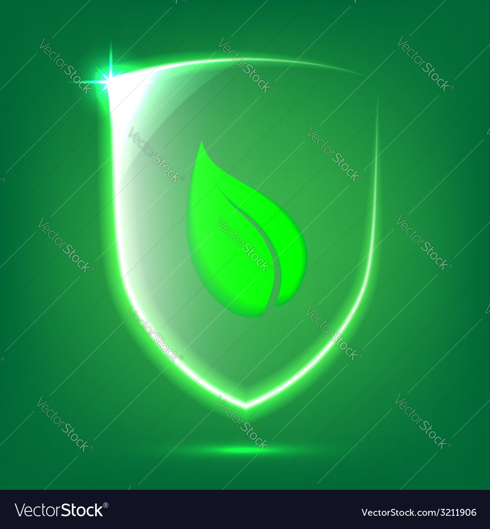 Green glass shield vector | Price: 1 Credit (USD $1)