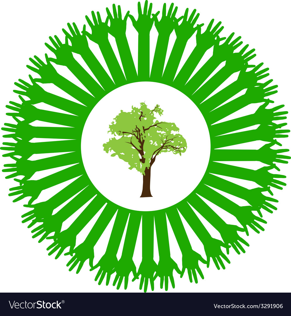 Hand style save the earth tree idea vector | Price: 1 Credit (USD $1)