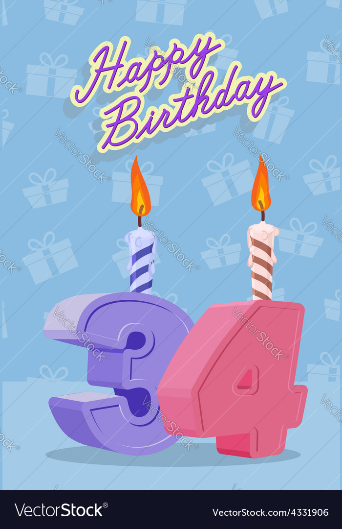 Happy birthday age 34 announcement and celebration vector | Price: 1 Credit (USD $1)