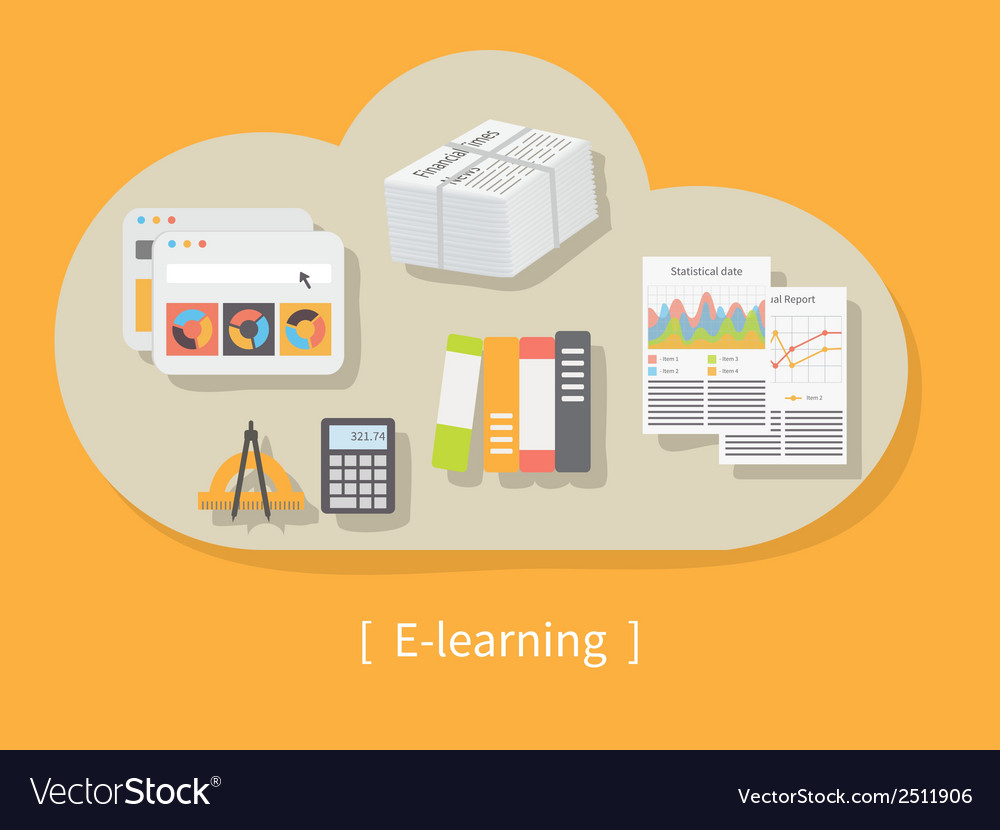 Online education and e-learning vector | Price: 1 Credit (USD $1)