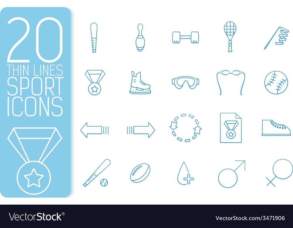 Thin line sport set icons concept design vector | Price: 1 Credit (USD $1)