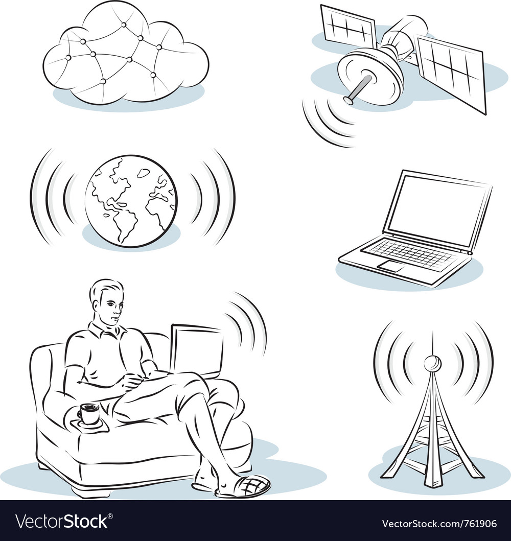 Work on the internet vector | Price: 1 Credit (USD $1)
