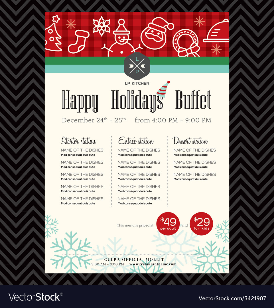 Christmas party festive restaurant menu design vector | Price: 1 Credit (USD $1)