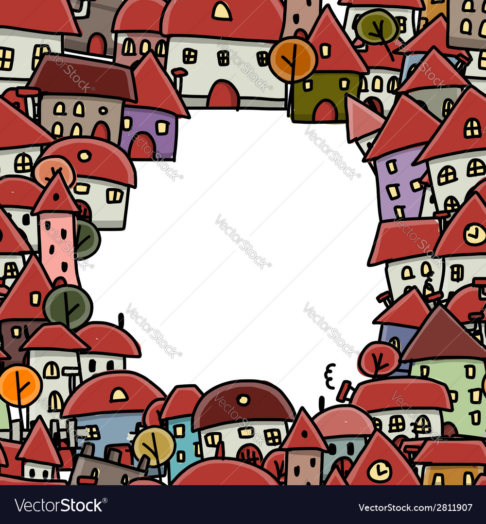 City sketch frame seamless pattern for your design vector | Price: 1 Credit (USD $1)