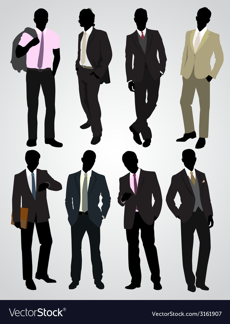 Eight businessman silhouettes vector | Price: 1 Credit (USD $1)