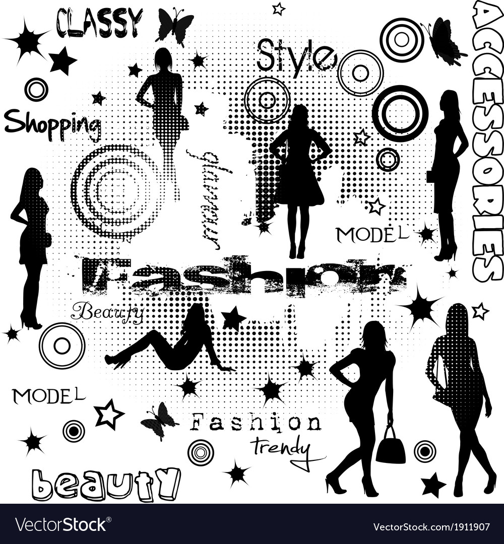 Fashion advertisement with women silhouettes vector | Price: 1 Credit (USD $1)