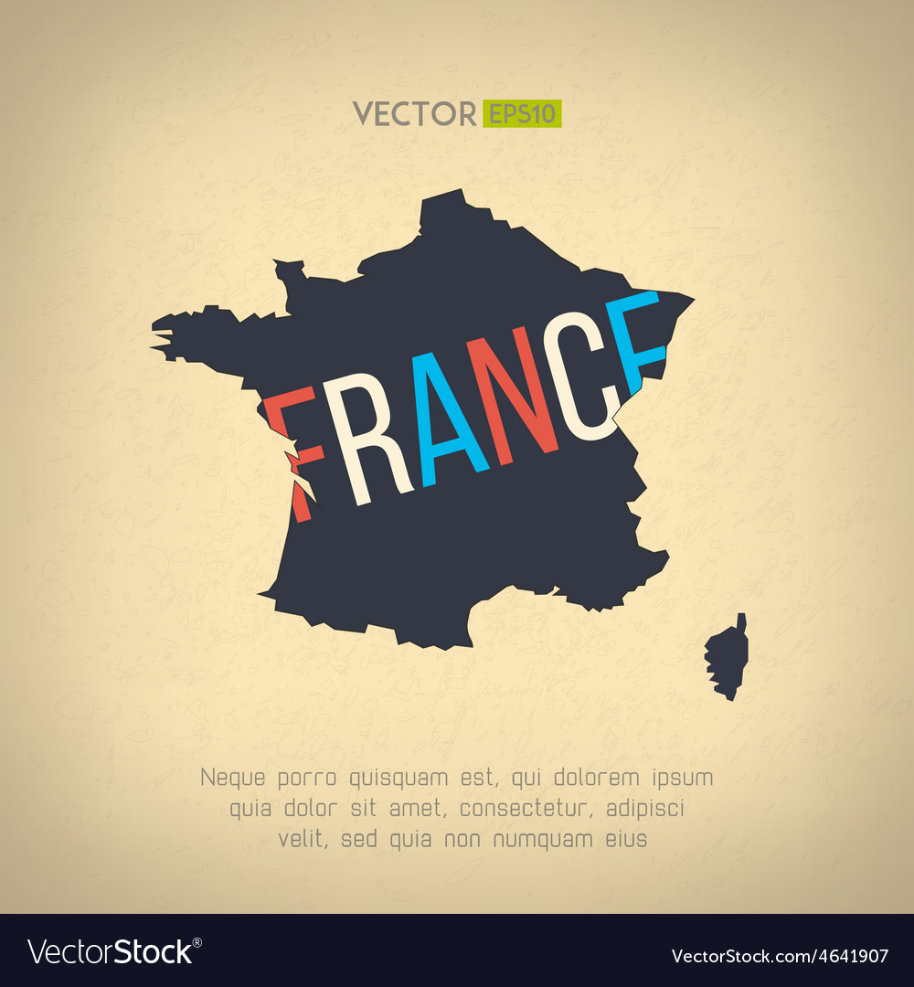 France map in vintage design french border vector | Price: 1 Credit (USD $1)