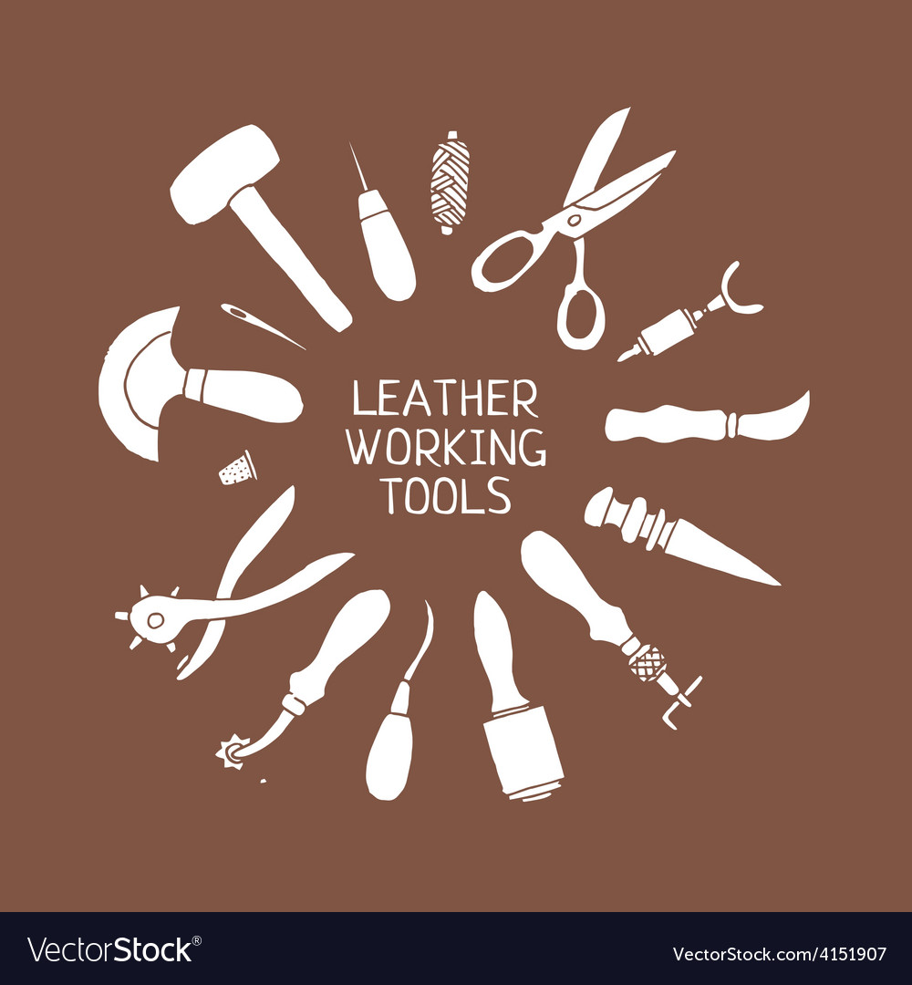 Hand drawn leather craft tools vector | Price: 1 Credit (USD $1)