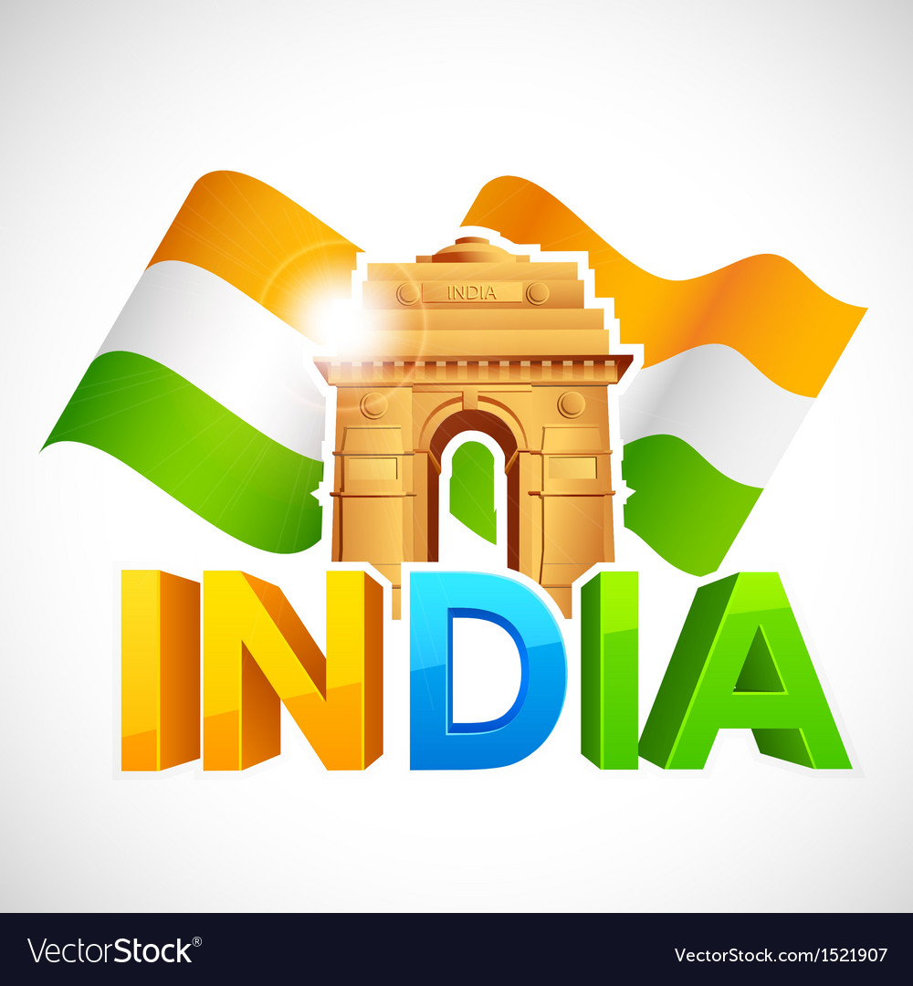 India gate with tricolor flag vector | Price: 1 Credit (USD $1)