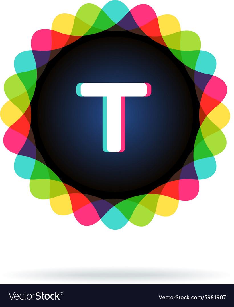 Retro bright colors logotype letter t vector | Price: 1 Credit (USD $1)