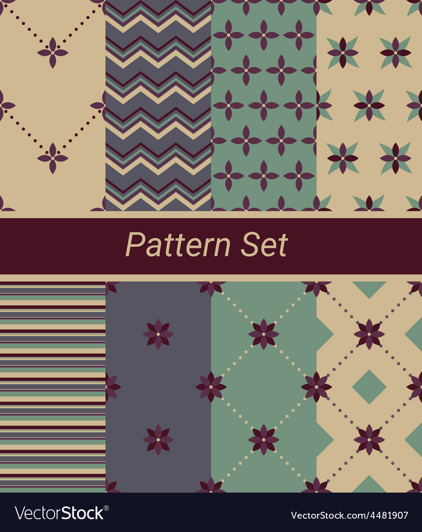 Set of 8 simple floral and geometrical patterns vector | Price: 1 Credit (USD $1)