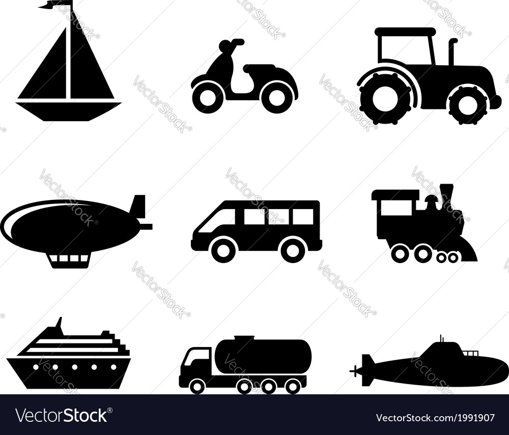 Transport icons set vector | Price: 1 Credit (USD $1)