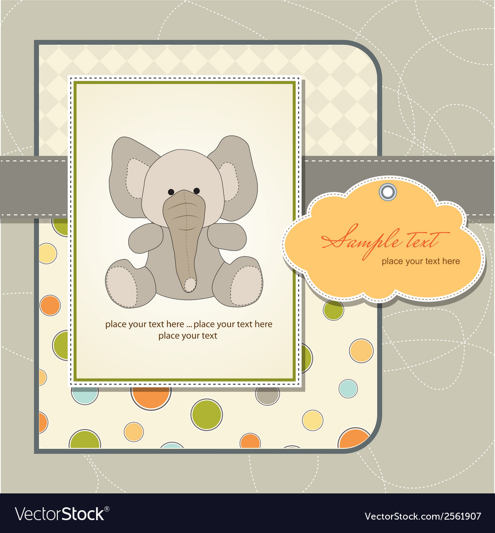 Welcome baby card with elephant vector | Price: 1 Credit (USD $1)