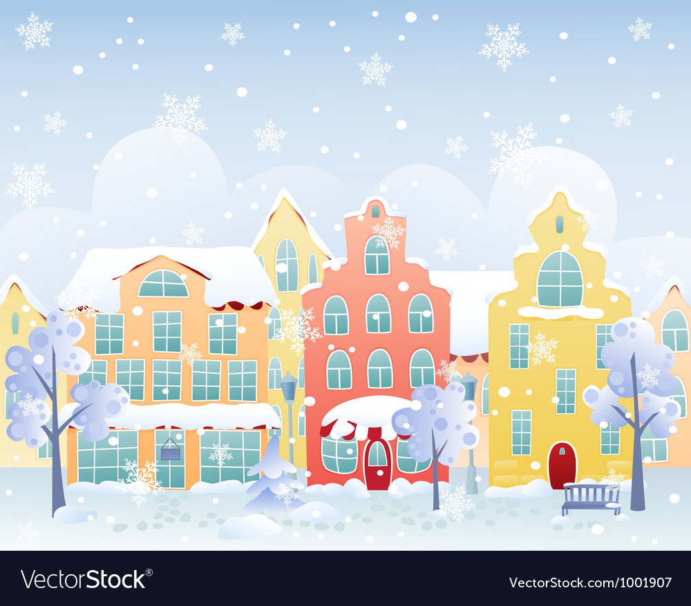 Winter street vector | Price: 1 Credit (USD $1)