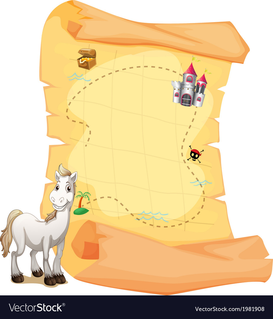 A white horse and a treasure map vector | Price: 1 Credit (USD $1)