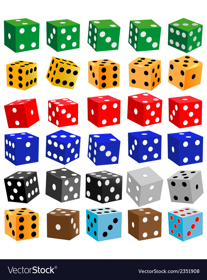 Gaming dice of different colors vector | Price: 1 Credit (USD $1)