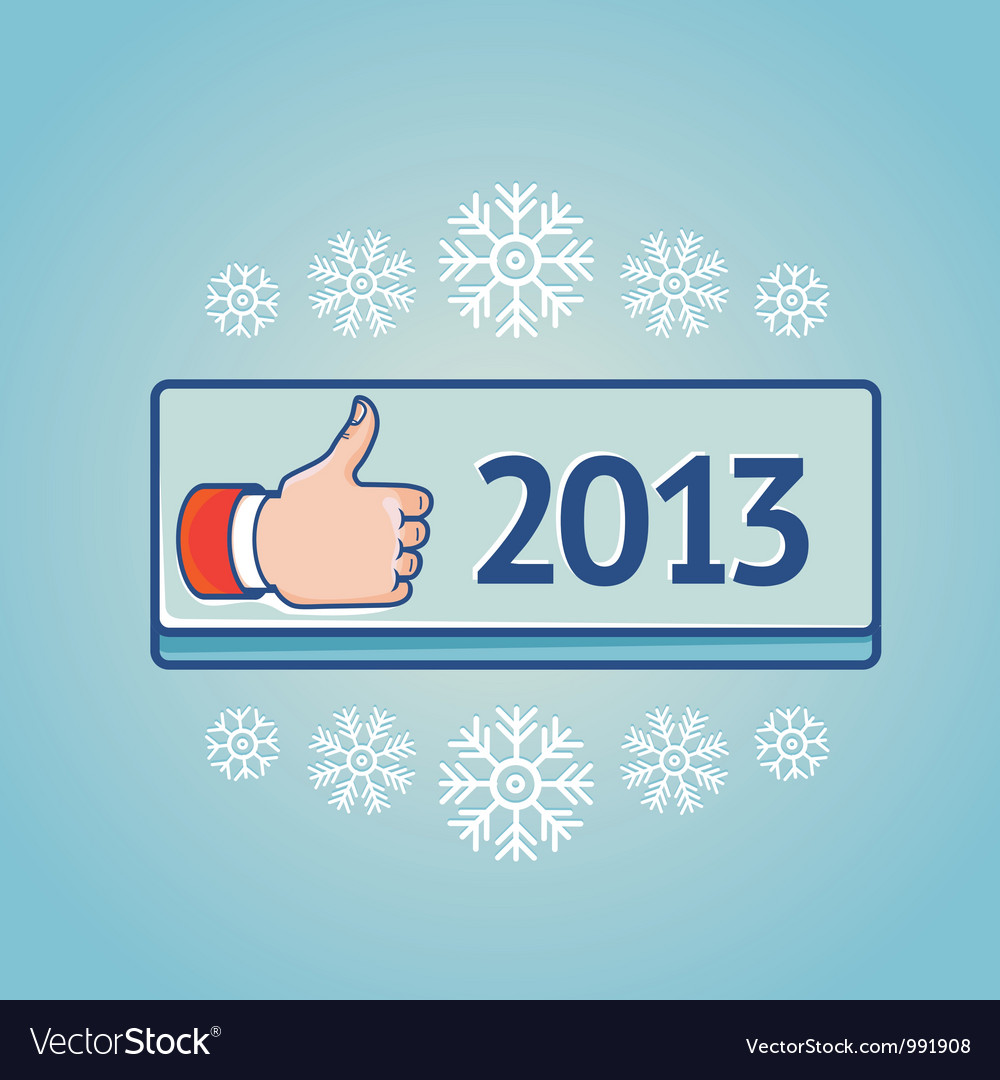 New year greeting card with like sign vector | Price: 1 Credit (USD $1)