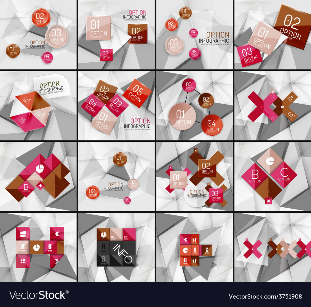 Set of business geometric option steps vector   Price: 1 Credit (USD $1)