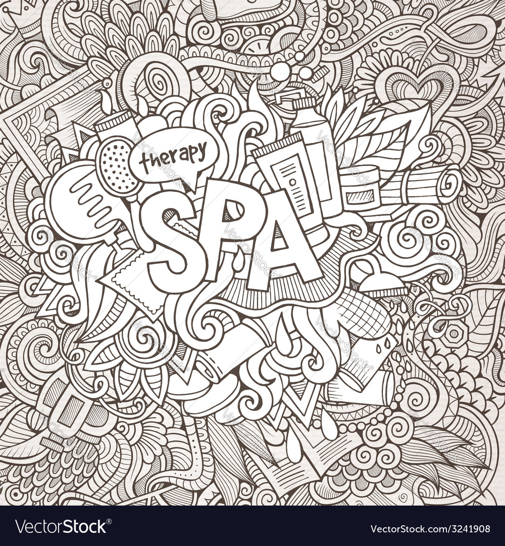 Spa hand lettering and doodles elements background vector | Price: 1 Credit (USD $1)