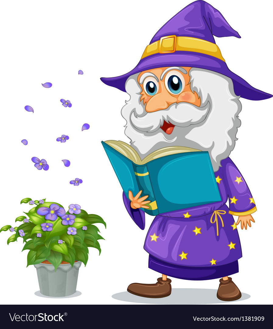 A wizard holding a book beside a pot with plant vector   Price: 1 Credit (USD $1)