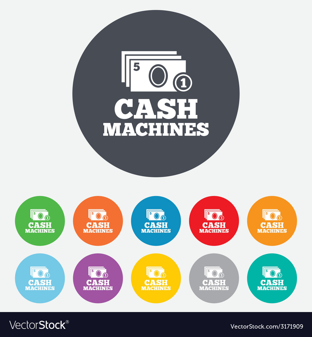 Cash and coin machines sign icon paper money vector | Price: 1 Credit (USD $1)