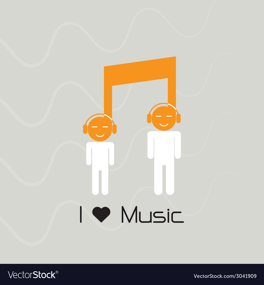 Creative music note sign and silhouette people vector | Price: 1 Credit (USD $1)