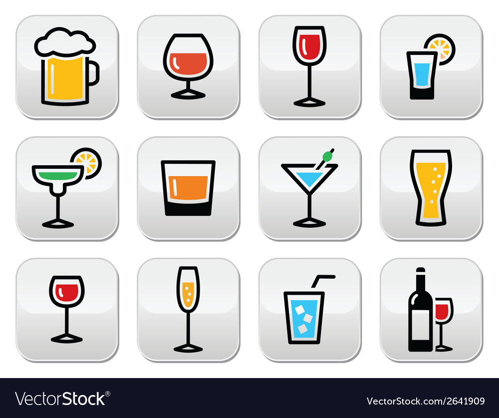 Drink colorful alcohol beverage buttons set vector | Price: 1 Credit (USD $1)