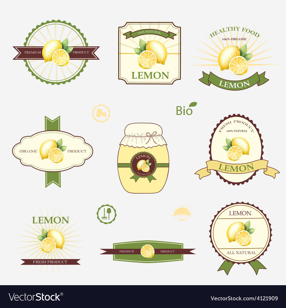 Lemon set of label design and templates vector | Price: 1 Credit (USD $1)