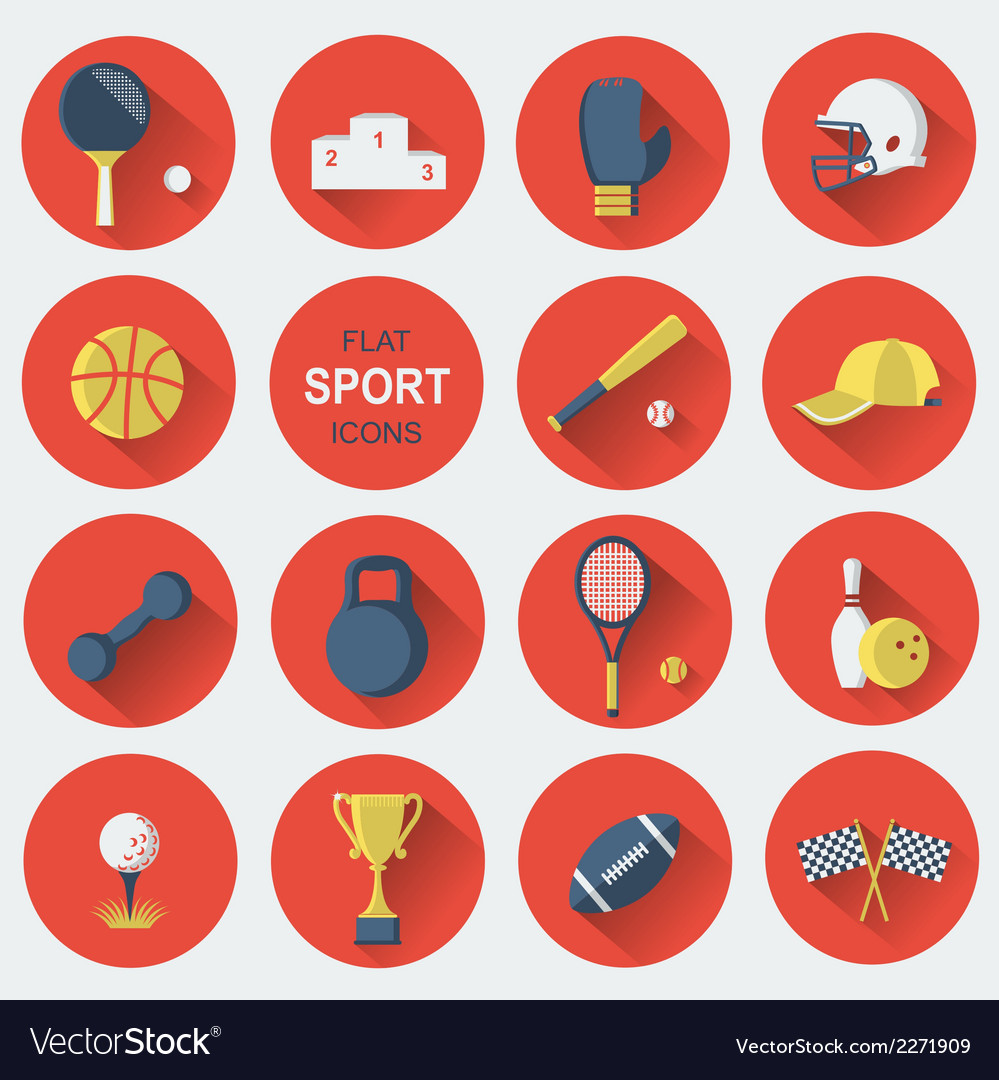 Sport equipmentsflat icons vector