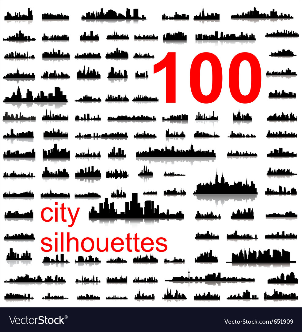 World city silhouettes vector | Price: 1 Credit (USD $1)