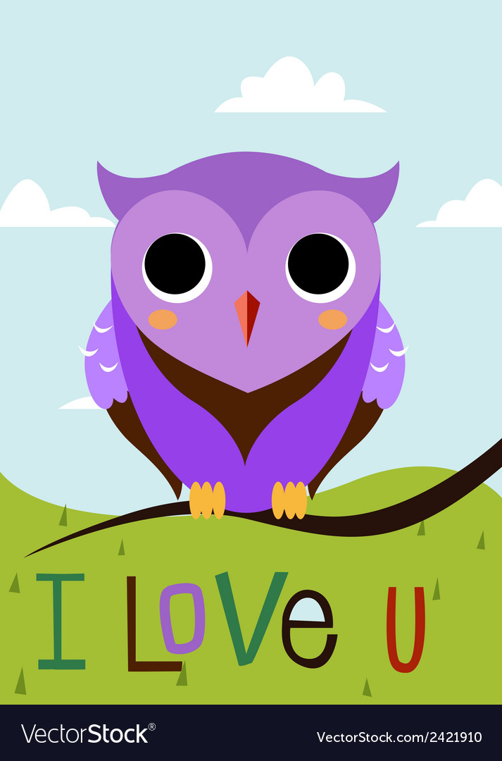 Cartoon owl on a tree branch card vector | Price: 1 Credit (USD $1)