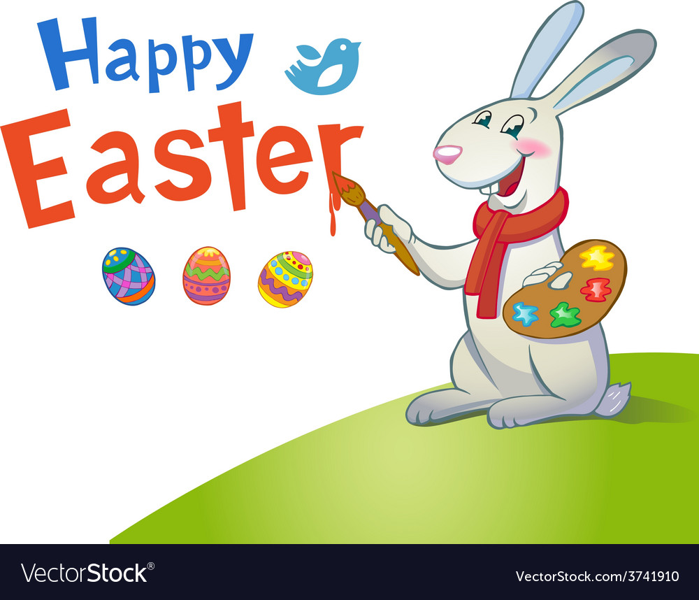 Cute easter bunny holding brush vector | Price: 1 Credit (USD $1)