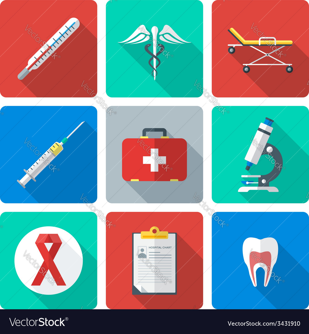 Flat design medical icons set vector | Price: 1 Credit (USD $1)