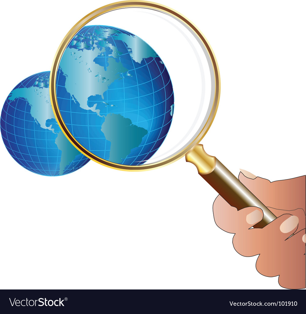Globe magnify vector | Price: 1 Credit (USD $1)