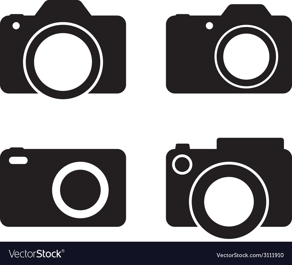 Photography camera black silhouettes vector | Price: 1 Credit (USD $1)