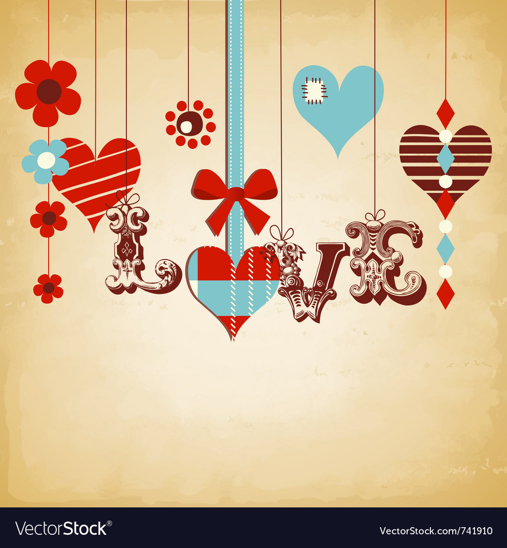 Retro love background vector | Price: 1 Credit (USD $1)