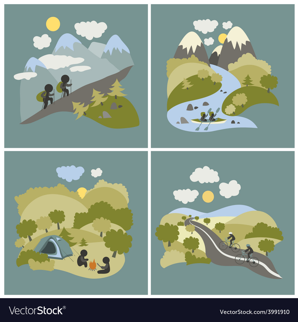Set of outdoor leisure pictures vector | Price: 1 Credit (USD $1)