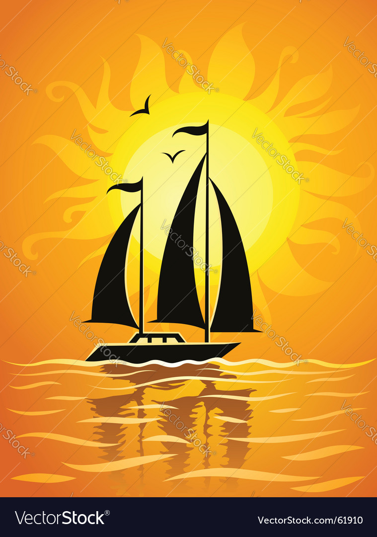 Ship silhouette on sea sunset vector | Price: 1 Credit (USD $1)