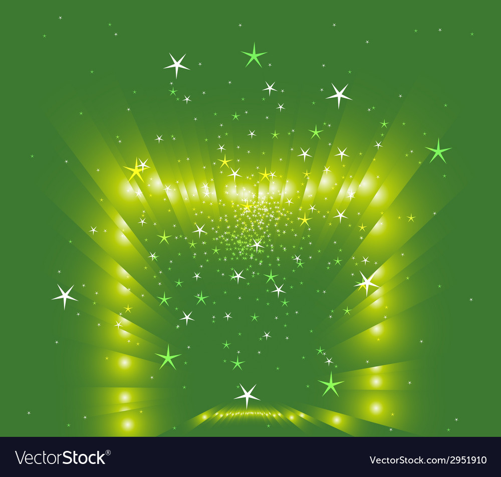 Stars on green background vector