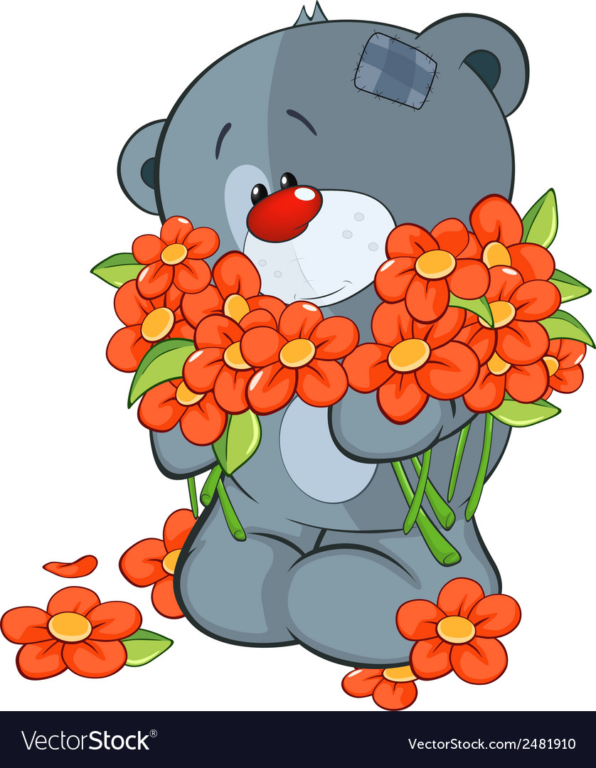The stuffed toy bear cub and flowers vector | Price: 1 Credit (USD $1)