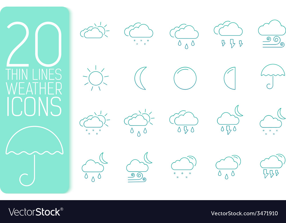 Thin line weather set icons concept design vector | Price: 1 Credit (USD $1)