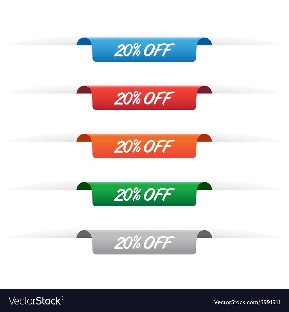 20 percent off paper tag labels vector | Price: 1 Credit (USD $1)