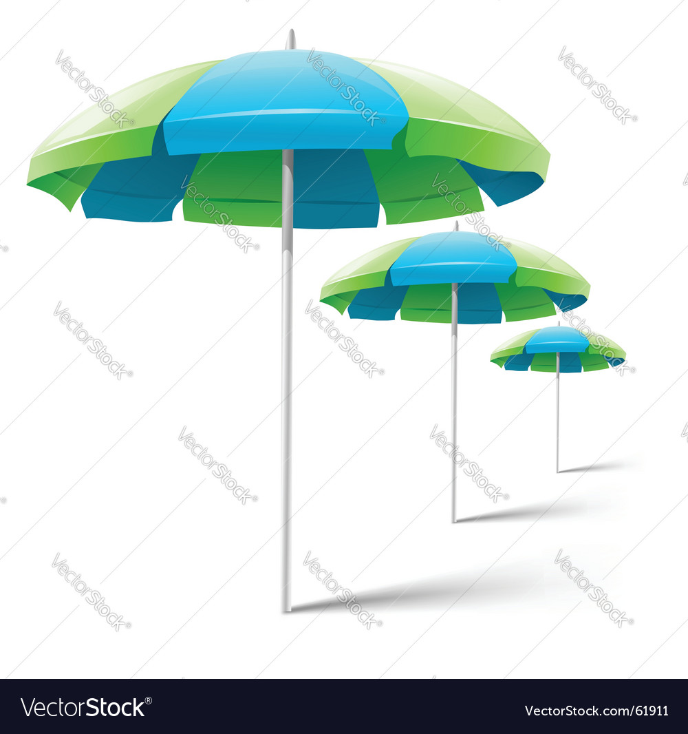 Beach umbrellas isolated on white vector | Price: 1 Credit (USD $1)