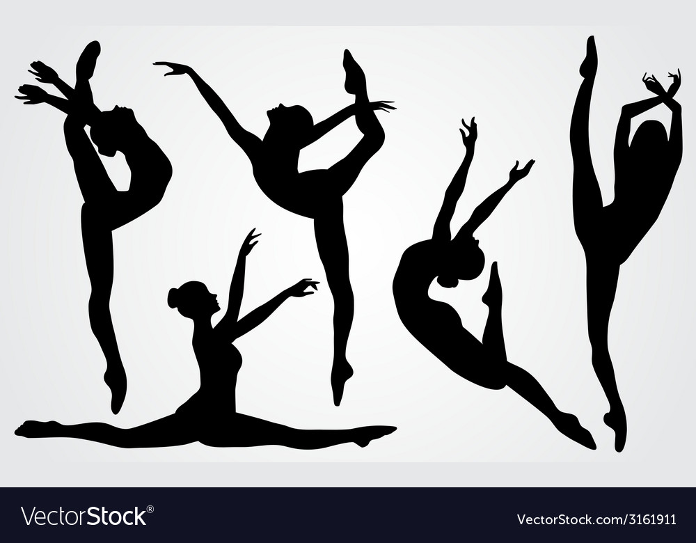 Black silhouettes of a ballerina vector | Price: 1 Credit (USD $1)