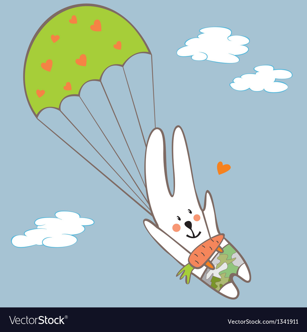 Bunny parachutist vector | Price: 1 Credit (USD $1)