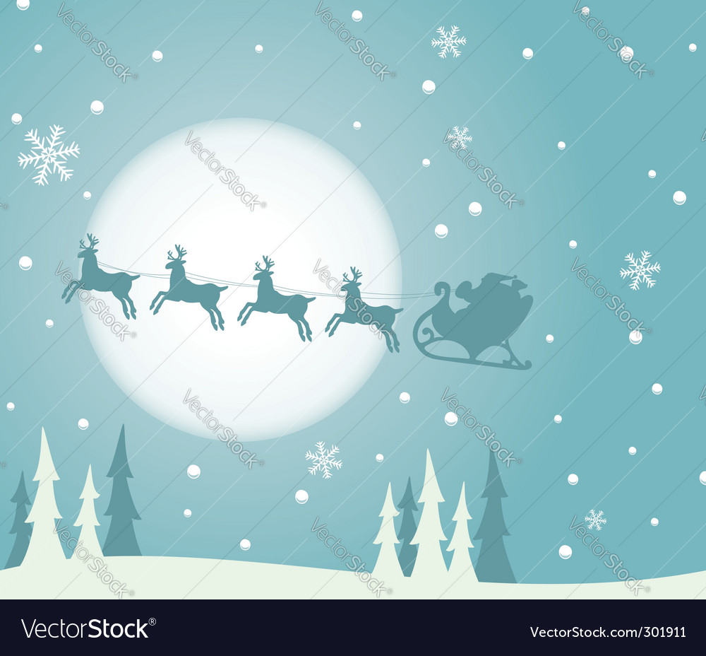 Christmas background with santa vector