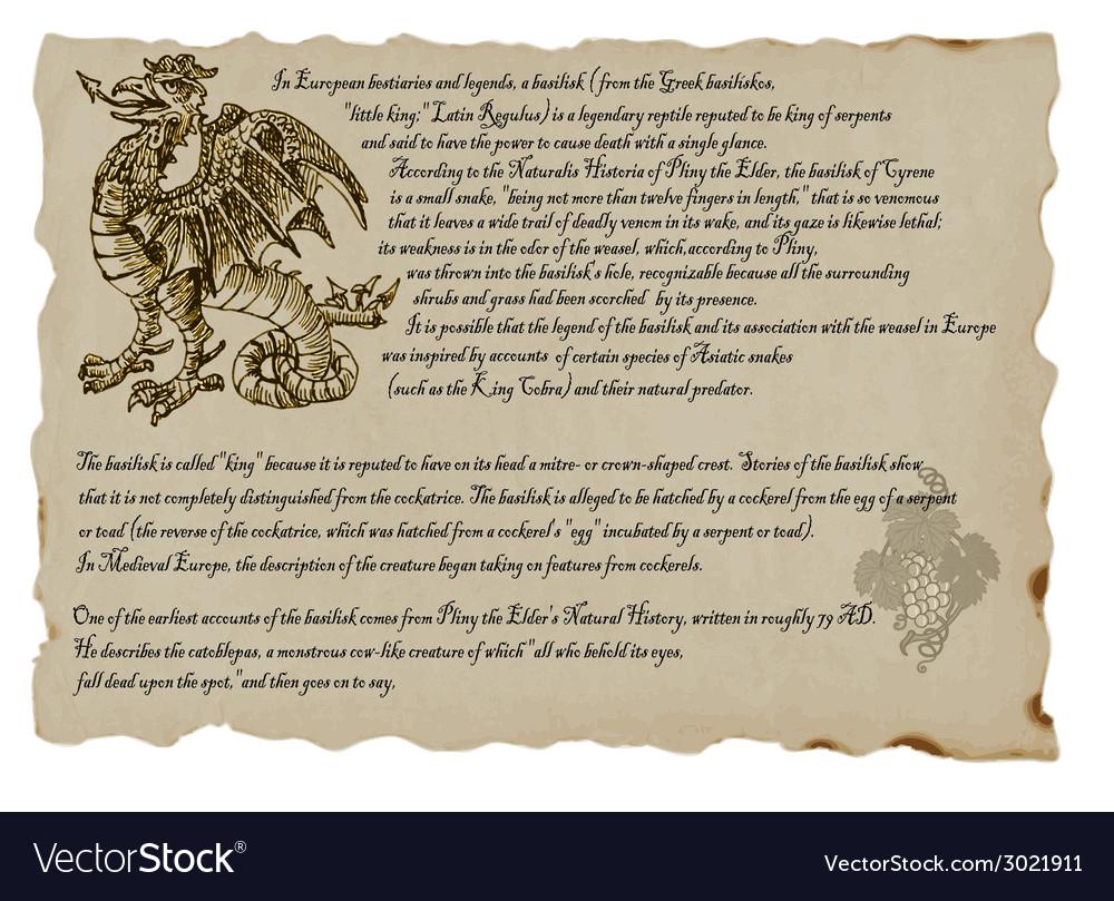 Creature or mystical monster basilisk vector   Price: 1 Credit (USD $1)